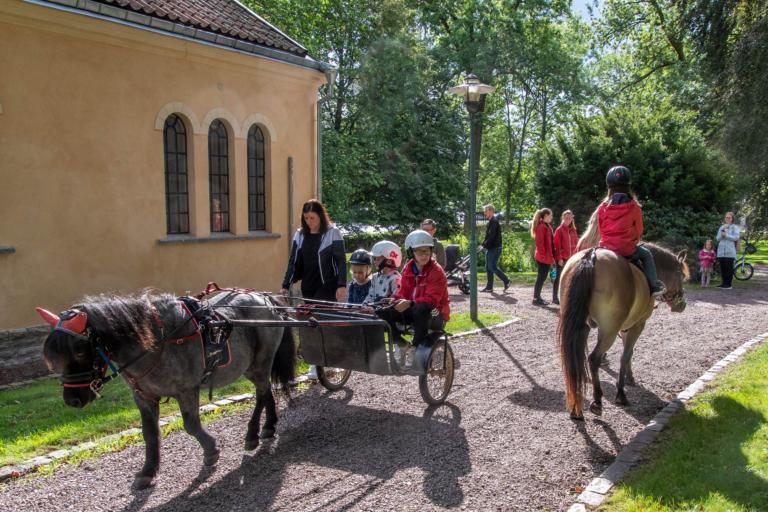 En häst drar en sulky med tre barn sittandes i.